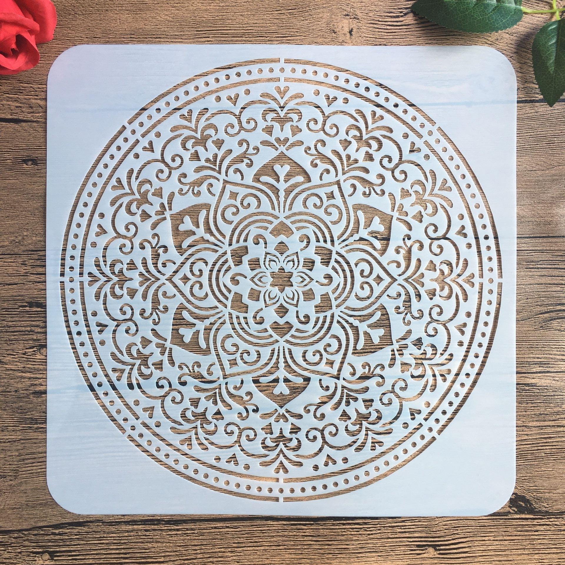 30 * 30 Cm Large Round Flower Mandala Diy Stencil Painting Scrapbook Coloring Engraving Album Decoration Template Stencil -i