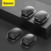 Baseus-organizador de cables de Clip para coche, colgador de almacenamiento de llaves y auriculares, colgador de ganchos de pared, Clips de sujeción, adhesivo automático, 4 Uds.