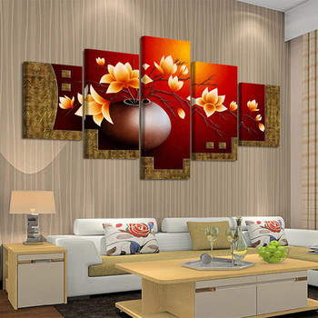 5 Piece Picture Flower Vase Canvas Art Print Oil Painting Living Room Paintings HD Prints Posters Home Decor Wall Art Pictures
