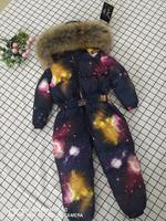 2019 Winter baby girl down coat Baby clothes print outerwear Fur Hooded children's Snowsuit down overall Child jumpsuit romper