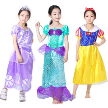 Small Princess Sophie Second Snow White Real dress Girl Mermaid Clothes Halloween Children Show Clothing