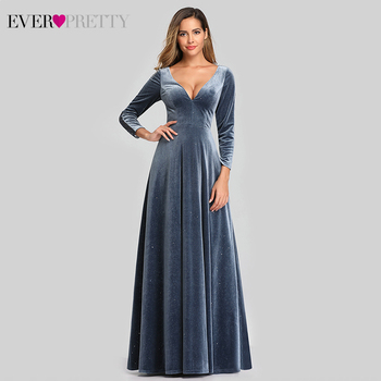 Sexy Saudi Arabia Evening Dresses Long Ever Pretty EP00870 Deep V-Neck Full Sleeve Autumn Winter Lace Party Gowns Vestido Longo