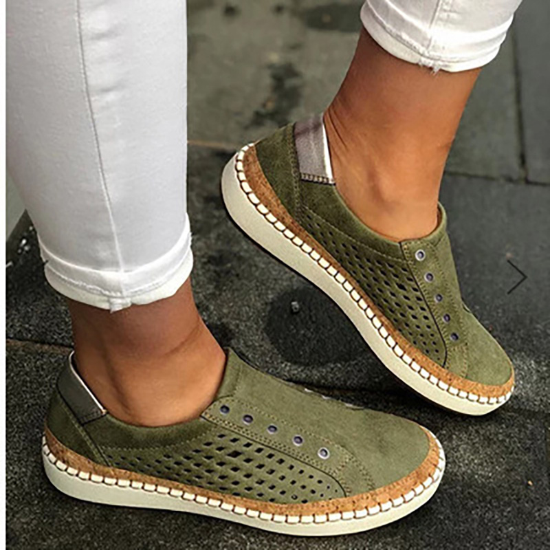 Woman Sneakers Female Fashion Slip On Flats Ladies Hollow Out Vulcanized Women Comfortable Fashion Breathable Footwear Plus Size