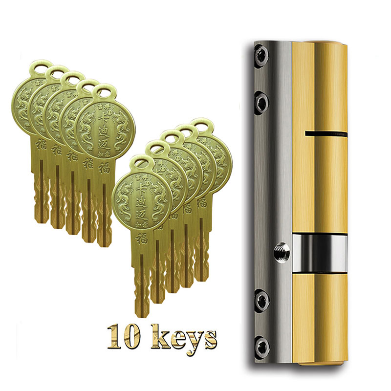 Super C classe 12 cylindre clé Anti-vol noyau de la serrure de porte universel cuivre plaqué chrome personnalisé cylindres cuivre clé