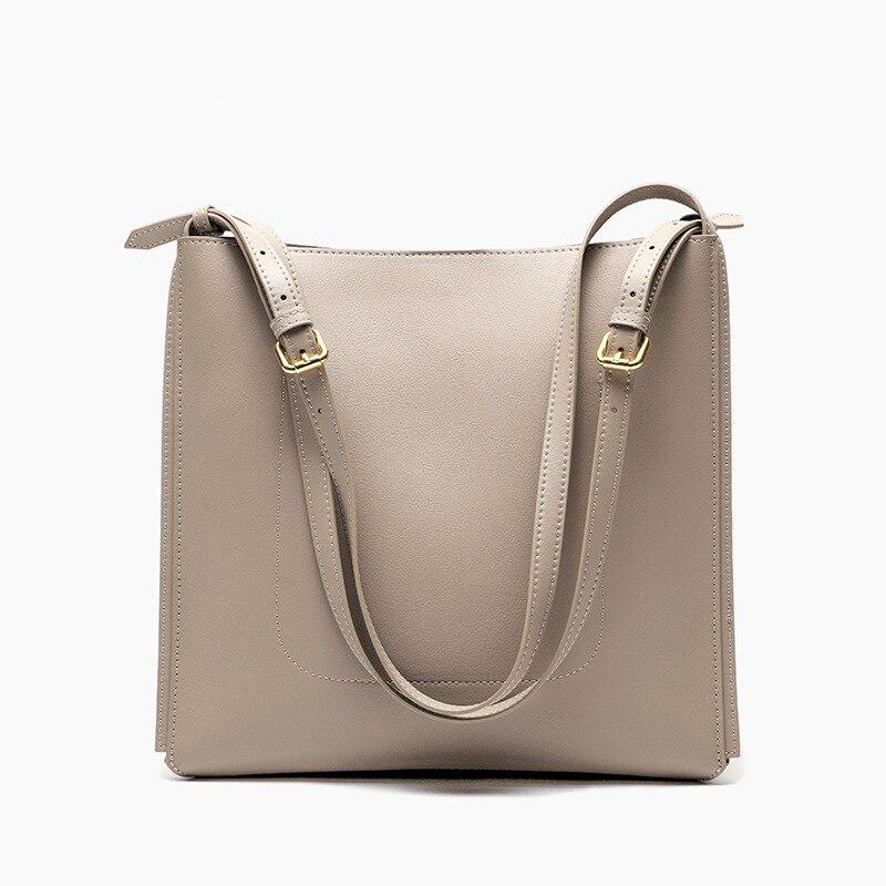 Fashion Bucket 100% Genuine Cow Leather Elegant Tote Handbag High Quality Lady Crossbody Bag Classic Blue Female Shoulder Bag