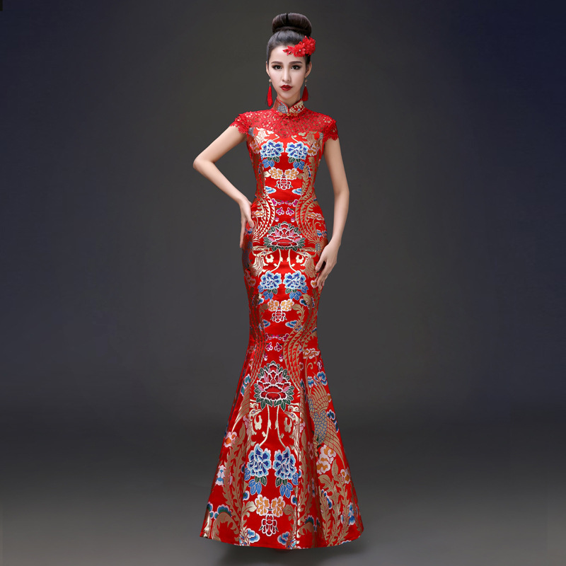 High Quality Red Mermaid Wedding Lace Traditional Dresses Women Cheongsam Chinese Style Long Qipao Evening Dress Aftenkjole