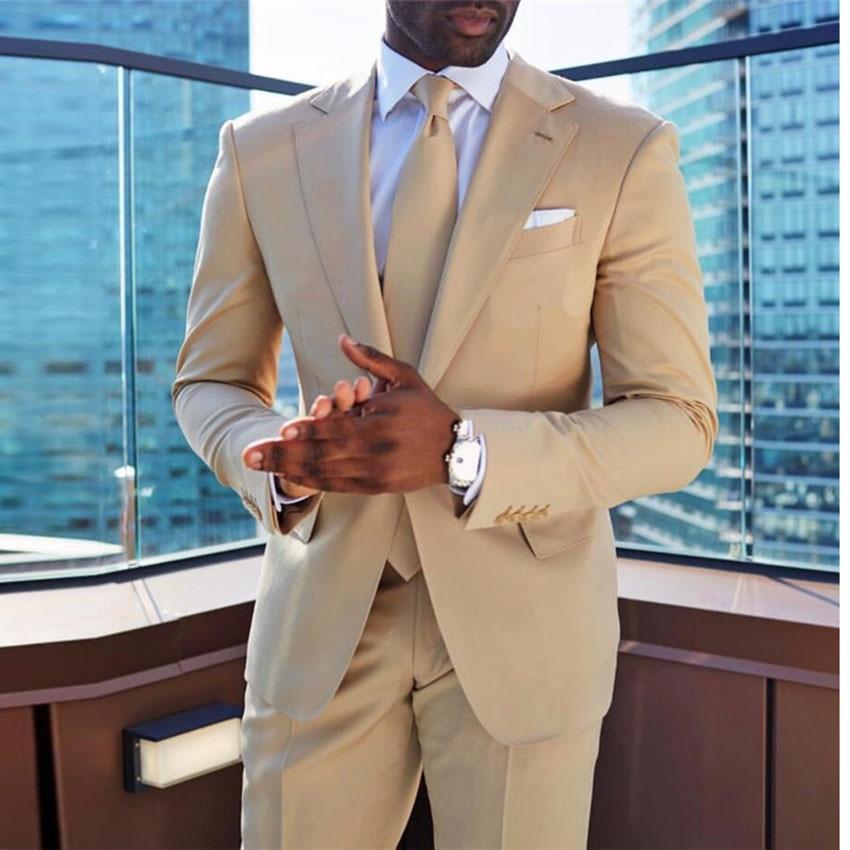 Champagnes Wedding Suits For Men 2 Pieces Mens Suit Slim Fit (Jacket+Pants) Groom Tuxedos Suits Formal Business Suits Set 2020