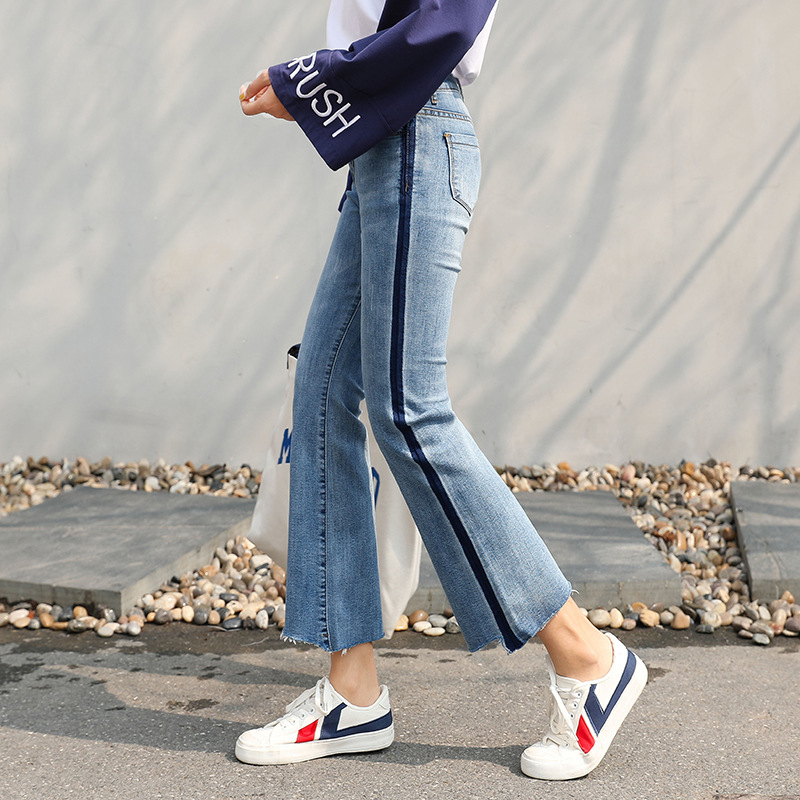 Jeans Women's 2019 Spring And Summer New Style Slimming Super Fire Versatile Straight-Cut Capri Micro Trumpet CHIC Pants High-wa