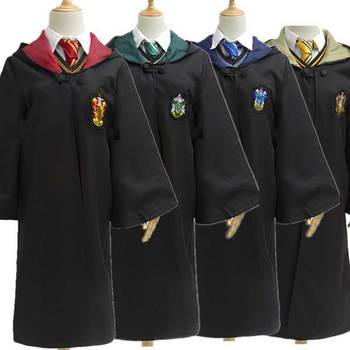 Adult Children Halloween Costume Magic School Ravencalaw Slytherin Hufflepu Robe Sweater Tie Wand Granger Halloween Costume