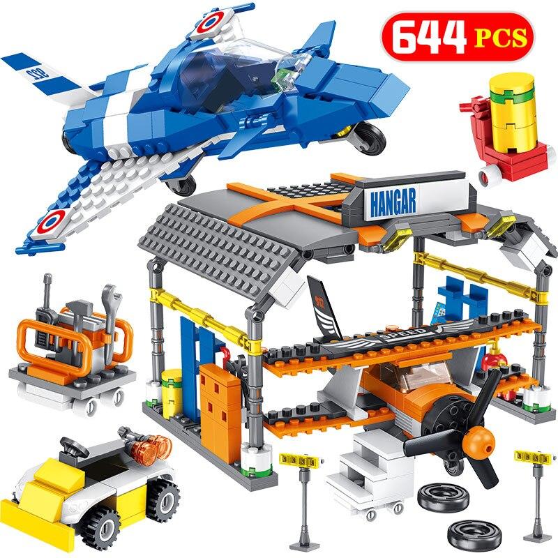 Technik Avions 644 pièces Briques Compatibles Ville Série Laéroport Avion de Voltige Hangar Blocs De Construction Chiffres Définit Jouet pour Garçons