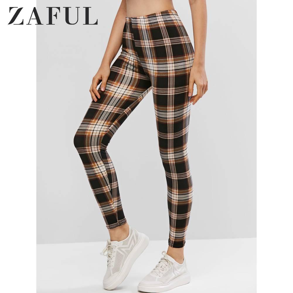 ZAFUL Pull On High Waisted Plaid Leggings Elastic Women Leggings Patterned Leggings Multi One Size Fall Spring Daily Wear 2019