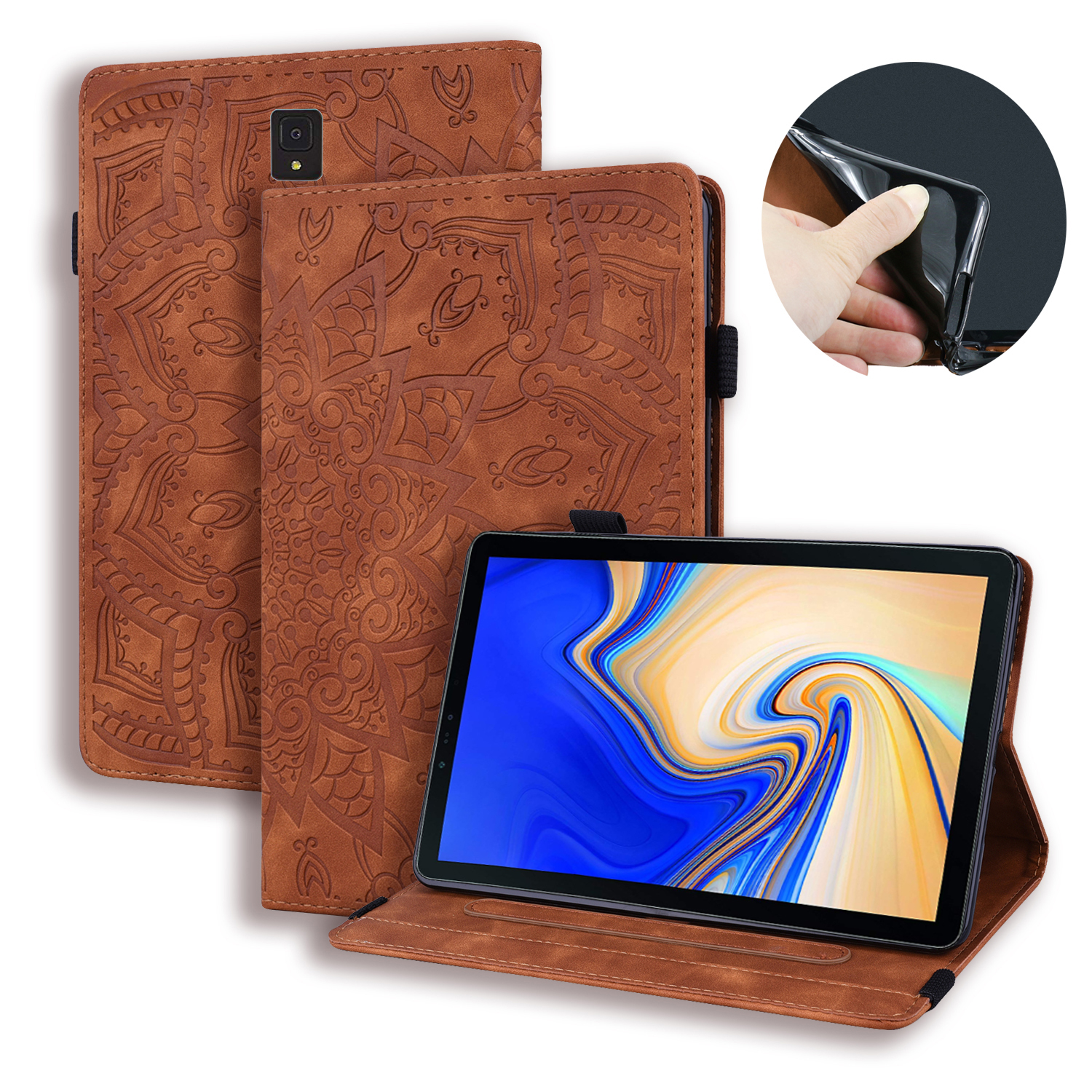 3D Vintage Case For Samsung Galaxy Tab S4 10.5 T830 T835 SM-T835 2018 Embossed PU Leather Stand Wallet Tablet Cover Capa + Pen