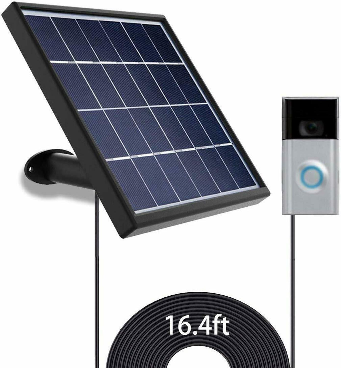 Solar Panel  for Ring video Doorbell 1 1st Gen  2016 Waterproof Charge 5 V 3 2W  Max  Output