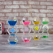 Double Colors Oil Hourglass sand clock sand watch Liquid Floating Motion Bubbles Timer Desk sand timer home decor reloj de arena youda new creative design diamond shape oil hourglass stress reliever oil sand timer best birthday gift oil hourglass