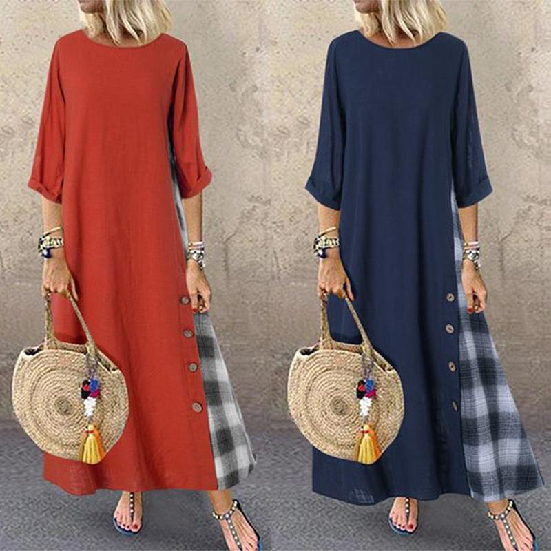 2020 ZANZEA Women's Check Sundress Autumn Stitching Maxi Dress Casual Long Sleeve Vestidos Female Button Robe Femme Oversized