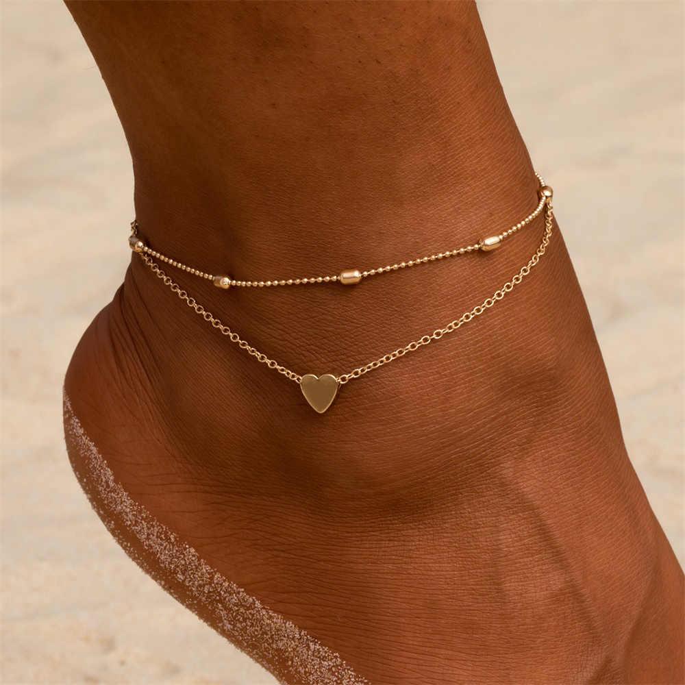 Pulseiras em camadas coração de ouro pulseira de tornozelo charme frisado dainty pé jóias para mulheres e adolescentes meninas verão descalço praia