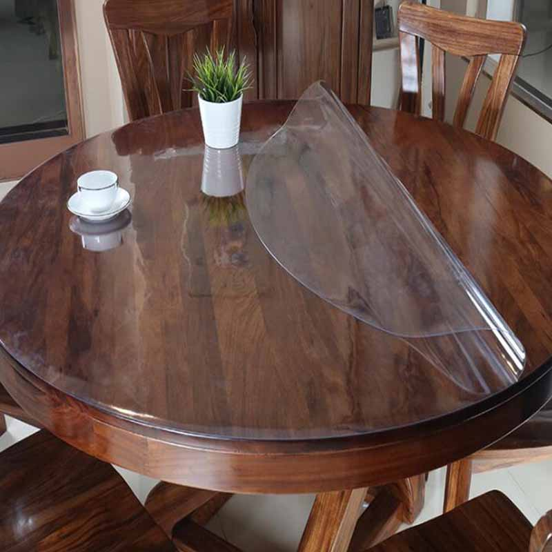 Round PVC Tablecloth Waterproof Oilproof Able Cover  Glass Soft Cloth Table Cover Home Kitchen Dining Room Placemat 1mm