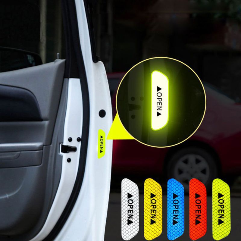 4Pcs/set Car Door Stickers Universal Safety Warning Mark OPEN High Reflective Tape Motorcycle Bike Helmet Sticker