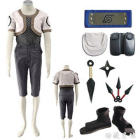 Hot Sell NARUTO Nara Shikamaru Cosplay Costumes Hallowmas Party Clothing Combat Clothes +Grid Underwear+ Accessories +Shoes