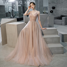 Sexy Bridal Gown Long Evening Dress Deep V-Neck Bead Prom