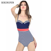 New Sexy Blue Stripped Swimsuit Women One Piece Suit Tummy Control Swimwear S-XL Girl Backless Padded Bathing Suit Swim Monokini new arrival sport swimwear one piece swimsuit women padded monokini sexy backless bodysuits swimming bathing suit size s m l xl
