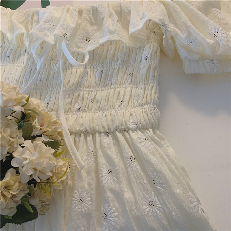 Sexy Ruffles Women Puffed Sleeves Dress Square Neck Bow Slim Waist Floral Dresses New 2020 Summer Girls Princess Pleated Dresses 6