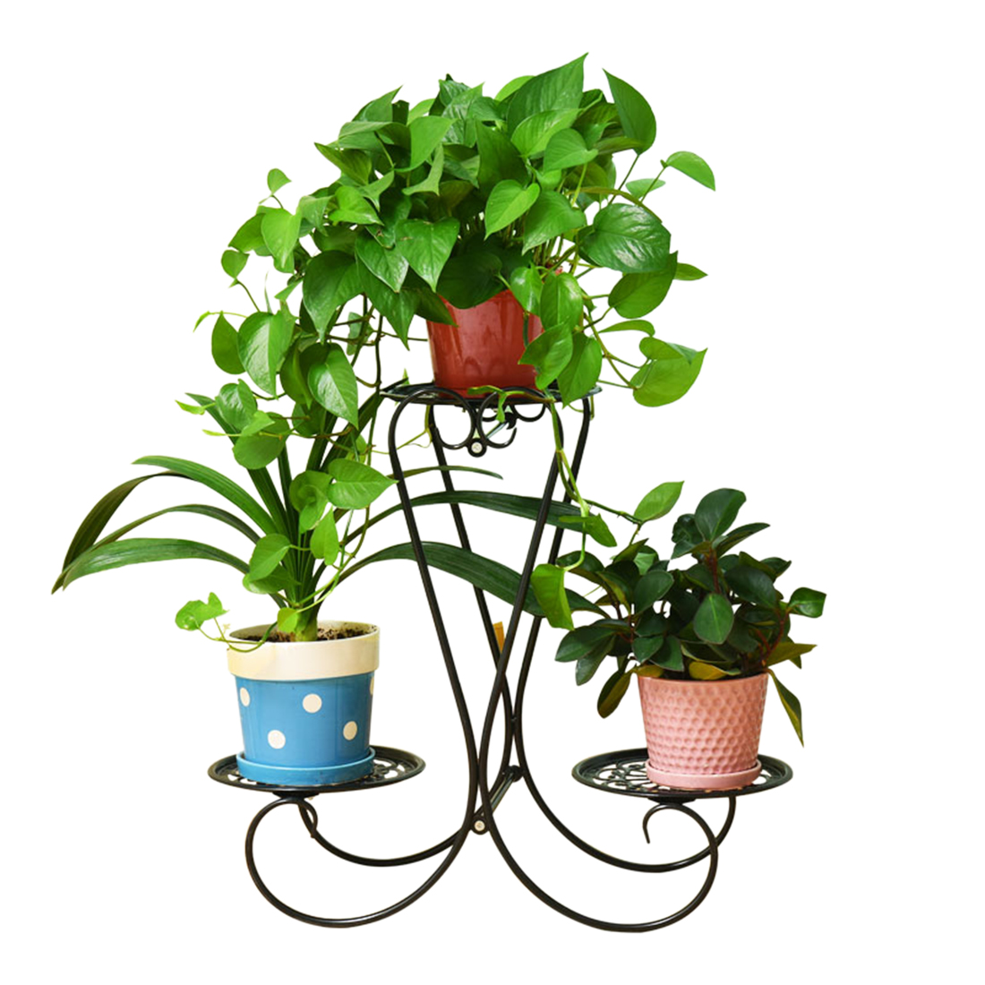 VICTMAX 60cm European Style Wrought Iron Plant Stand Flower Pot Holder For Home Garden Decor - Black