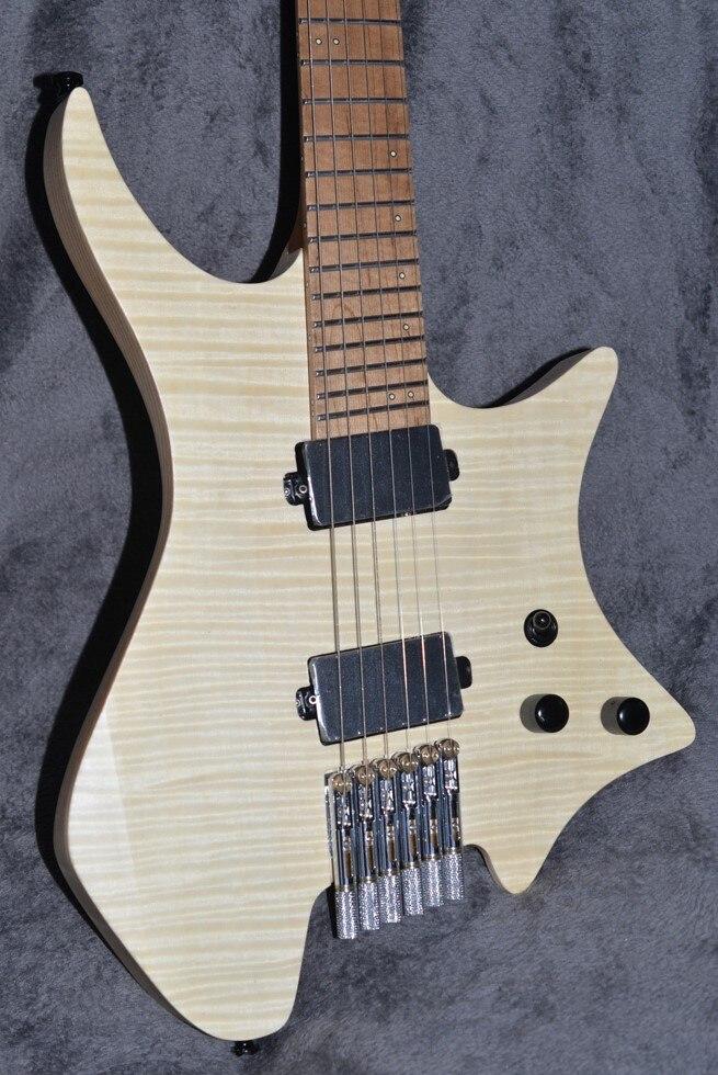 2019 NK guitare sans tête Fanned frettes guitare électrique flamme claire dessus en érable flamme rôtie manche en érable guitare livraison gratuite