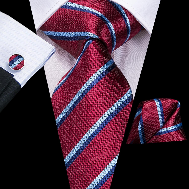 Hi-Tie 8.5cm 100% Silk Men's Blue Red Striped Ties Set Necktie Hanky Cufflinks Set Ties For Men Classic Party Wedding Tie Set