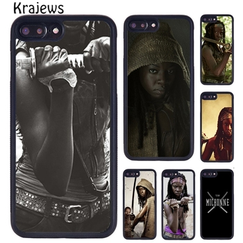 Krajews The Walking Dead Michonne Style Phone Case For iPhone X XR XS 11 12 Pro MAX 5 6 7 8 Plus Samsung S5 S6 S7 S8 S9 S10 image
