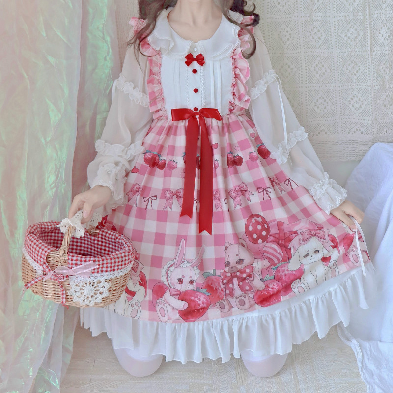 Kawaii Lolita Strawberry Sleeveless JSK Cute Rabbit Sweet Lolita JSK Dress Girl's Princess Dress