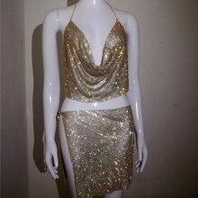 V Neck Halter Backless Crop Top Split Rhinestone Skirts Sparkle Sexy Ladies Club Matching Set Crystal Diamonds 2 Piece Outfits