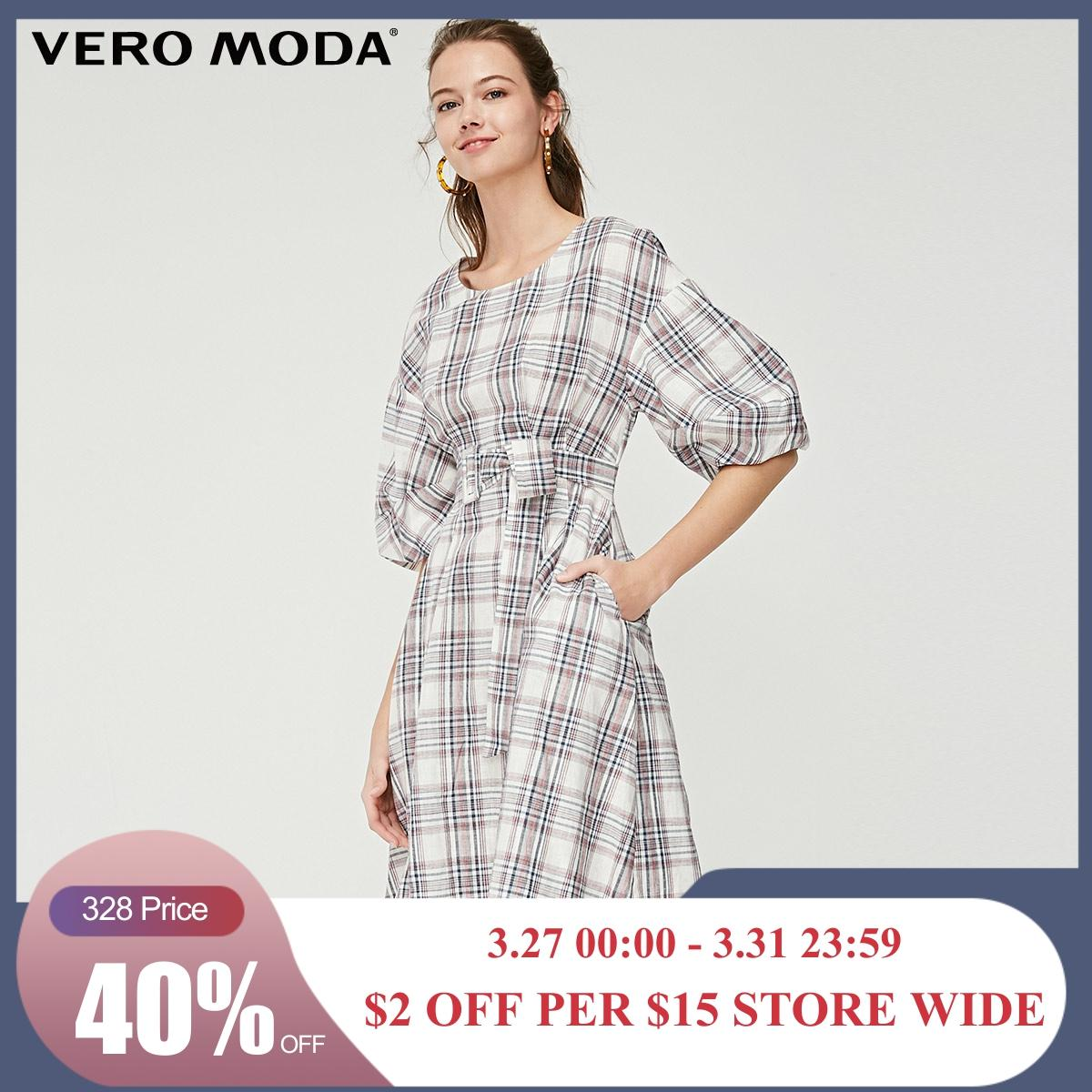 Vero Moda Women's Linen Plaid Fabric Lace-up Elbow Sleeves Dress | 31916Z505