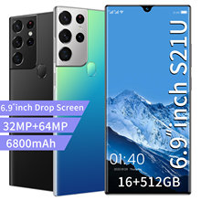 S21U Newest Smartphone Android 11.0 16GB RAM 512GB ROM 6800mAh Big Battery Deca Core Mobile Phone 6.9 Inch 32+64MP Rear Cameras