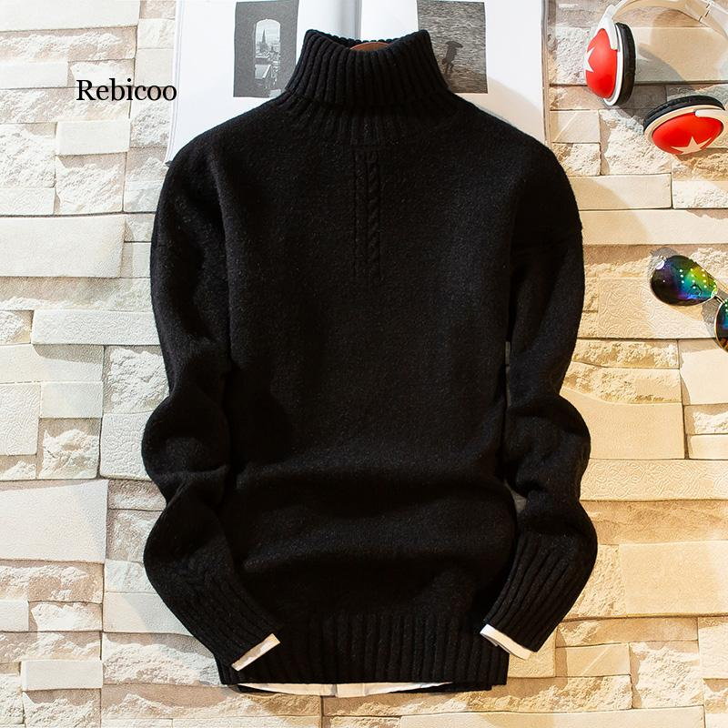 Cashmere Pullover Men  New Fashion Turtleneck Thick Warm Sweater Autumn Winter Mens Sweaters Casual Men's Knitted Sweaters
