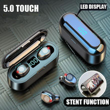 V5.0 movimento tws bluetooth fone de ouvido sem fio bluetooth display led com microfone 2000mah power bank fone de ouvido