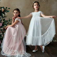 цена на Pleated Swing Princess Long Dress Lace Tulle Prom Dress Flower Girls Wedding Bridesmaid Dresses for Kids Photo Shoot clothes