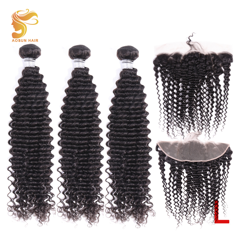 AOSUN HAIR Deep Wave With Frontal Brazilian Hair Bundles With Lace Frontal Human Hair Frontal With Bundle Remy Hair Extensions