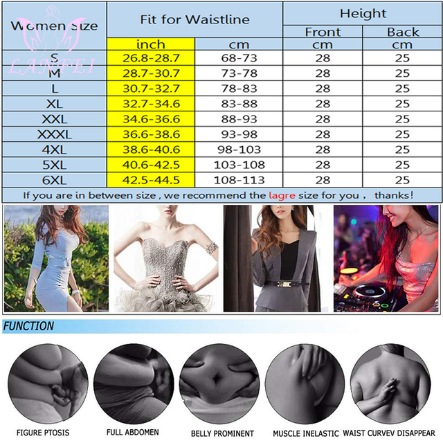 LANFEI Neoprene Sweat Waist Trainer Belt Women Weight Lose Body Shaper Sauna Slimming Strap Tummy Control Fat Burn Girdle Corset 5