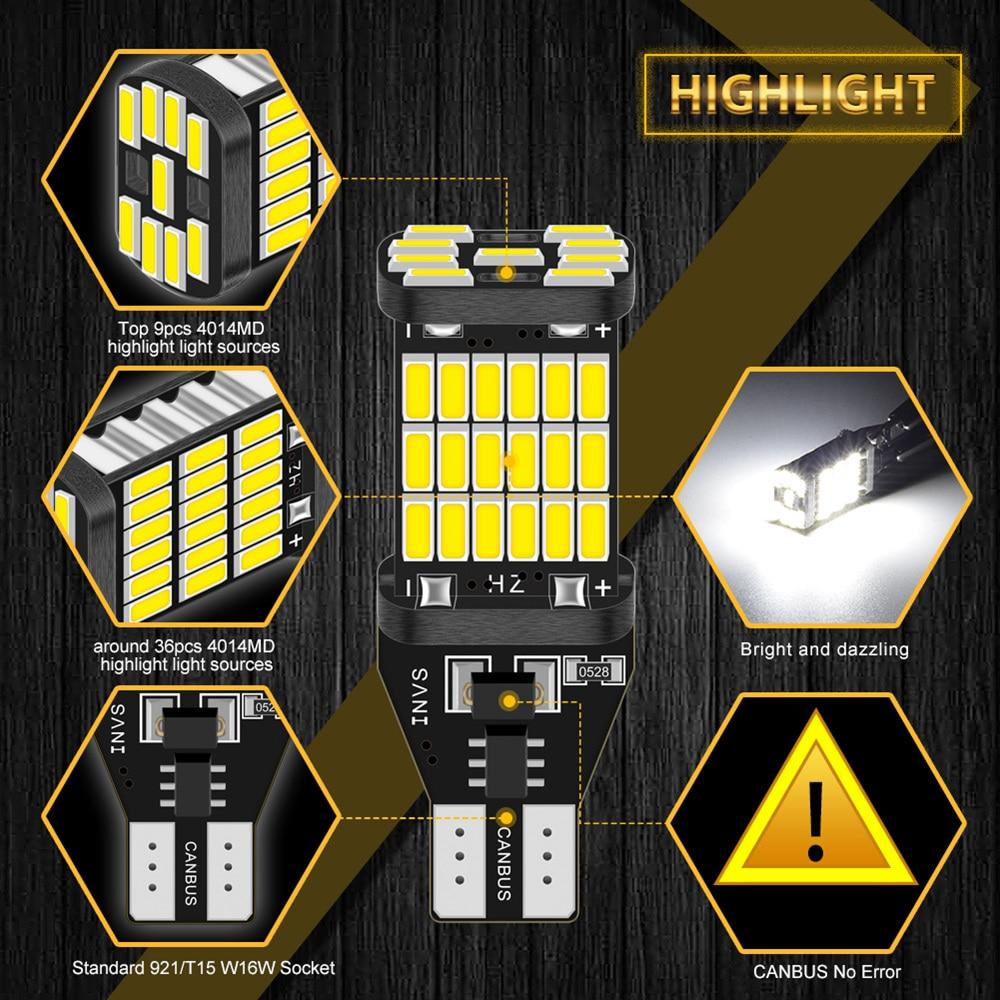 2x Canbus T16 T15 921 W16W LED Bulb Car Backup Reverse Lights for Hyundai Tucson 2017 Creta Kona IX35 Solaris Accent I30 Elantra 3
