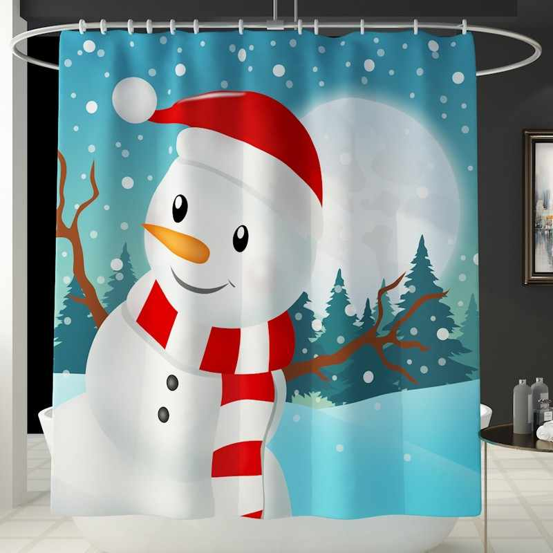 Non Slip Toilet Polyester Cover Mat Set Bathroom Shower Curtain with hooks MERRY CHRISTMAS Snowman Snowflake Print 180x180cmF820