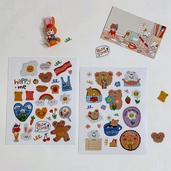 Hot ins kawaii Oil Painting Bear Sticker Girl Heart Mobile Account DIY Decorative Material PET Waterproof Stationary Stickers