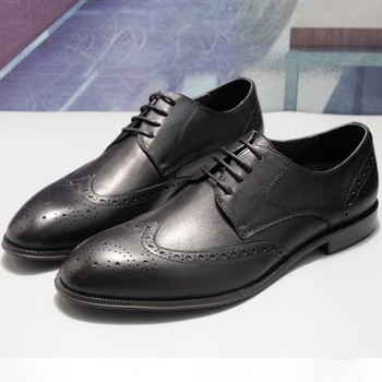 DESAI 2019 Four Seasons Classic Style Brogue Carved Genuine Leather Men's Shoes Lace-Up Business Casual Cowhide Leather Shoes