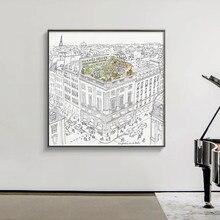 Toile moderne de décoration murale pour Chambre à coucher, jardin de toit de Paris, croquis de Style nordique, décoration de maison