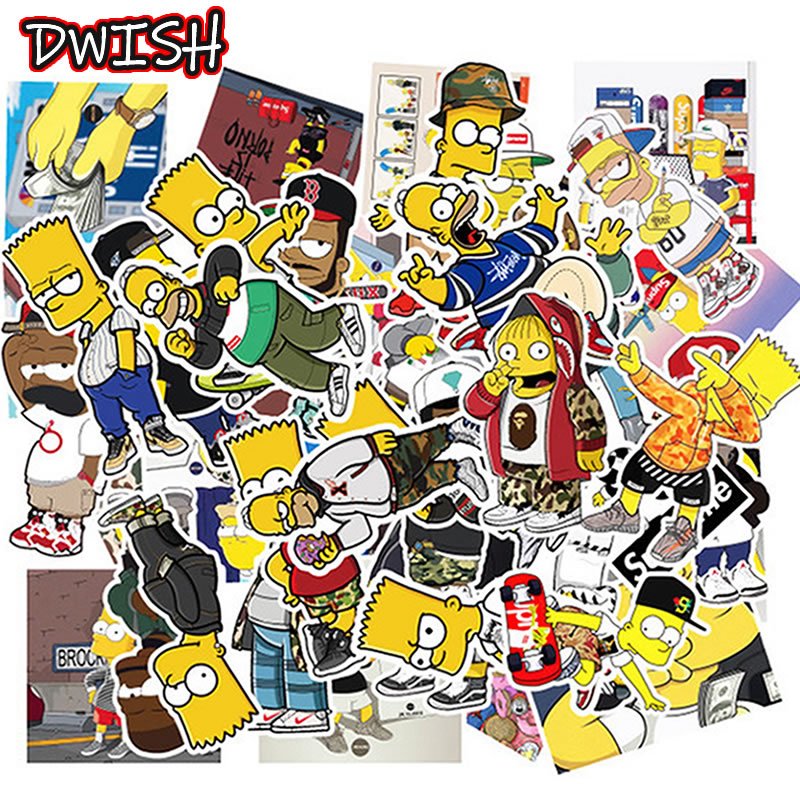 10/30/50pcs Cartoon Simpsons Waterproof Stickers Skateboard Guitar Suitcase Vsco Girl Children Graffiti Sticker Kid Classic Toy