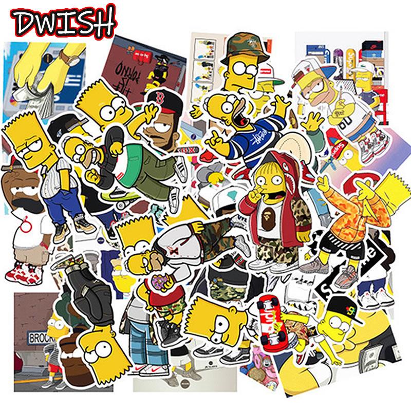 10/30/50pcs Cartoon Simpsons Waterproof Stickers Skateboard Guitar Suitcase Vsco Girl Children Graffiti Sticker Kid Classic Toy