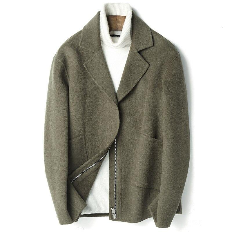 Autumn Winter 100%Wool Coat Men Fashion Cashmere Coat Male Short Jacket Overcoat Roupas Abrigo Hombre D-04-19511 ZL391