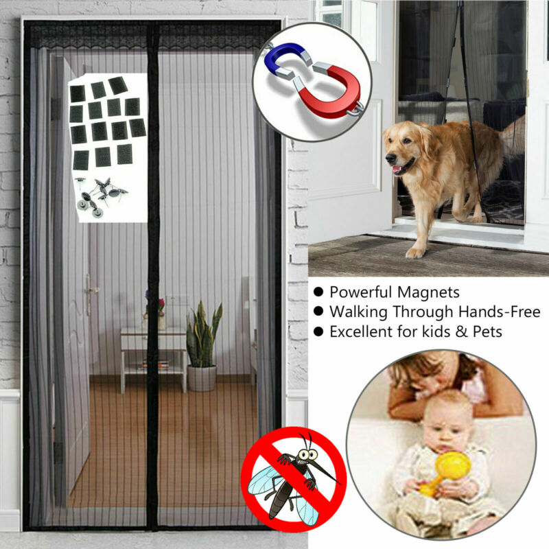 New Arrival  Magic Curtain Door Mesh Magnetic Fastening Hands Free Fly Mosquito Bug Insect Screen Door Screen Kitchen Curtain
