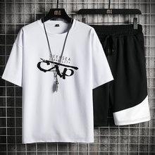 Casual conjuntos de treino de verão dos homens imprimir manga curta camiseta + shorts respirável conjunto curto moda esportiva masculina 2 peça