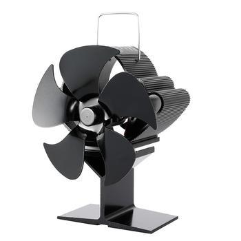 Black Fireplace 5 Blades Heat Powered  Stove Fan Log Wood Burner Eco-fan Quiet Home Fireplace Fan Efficient Heat Distribution